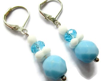 Sky blue earrings, blue beaded earrings, blue upcycled earrings, blue and white earrings, beaded dangle earrings, vintage bead earrings