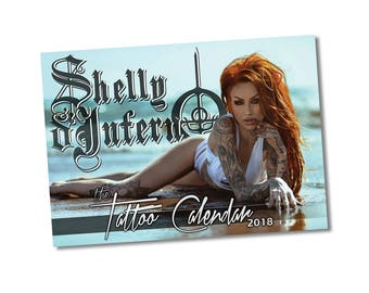 The Tattoo Calendar, A4 Shelly d'Inferno 2018 wall diary + FREE POSTER high quality silk poster collection