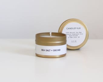 SEA SALT + ORCHID - 4 oz Travel Soy Candle - Hand-Poured - Candlefolk