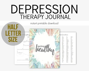 Half Letter - Depression Therapy Journal for Mental Health Struggles: Depression, Anxiety, Eating Disorders, Borderline, Grief, PTSD, A5
