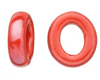 6pcs Cherry red Porcelain Slider Beads for Licorice/Licorice Leather - O Style Glaze finish 18x21mm