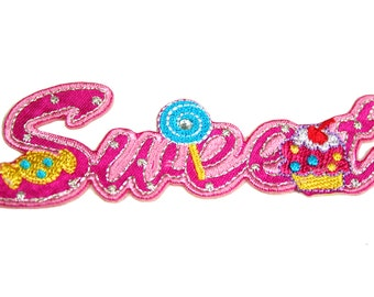 "Word ""Sweet"" 3.5"" X 1.25"" Iron on Patch Applique Motif Embellishment Accessories Craft Supplies CF_Sweet"