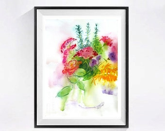Bouquet of flowers painting, Flowers in vase, Floral original Watercolor, Flowers in artwork, Flower bouquet,  pink and yellow flowers