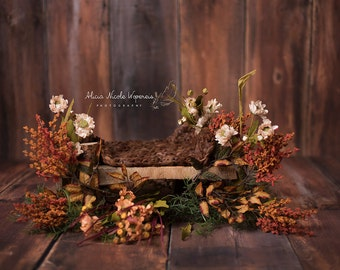 FALL COLLECTION: Digital Photography Prop rustic wooden bed with flowers