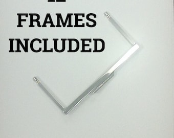 12 Open Channel Modern Purse Frames Color SILVERTONE 6""