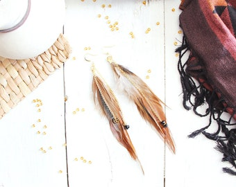Earrings Falcon, brown, white and black feathers, golden chains, black and gold beads, ancient egypt inspiration, for women