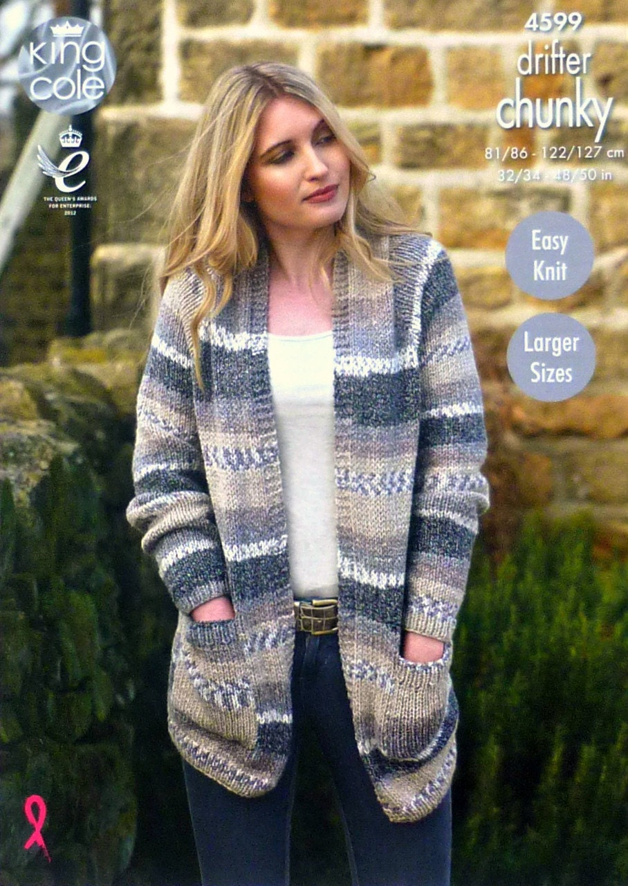 Womens Knitting Pattern K4599 Ladies Easy Knit Long Sleeve Cardigan ...