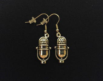 OLD MICROPHONE Charm Earrings Stainless Steel Ear Wire Silver Metal Unique Gift