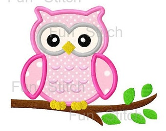 Cute owl applique machine embroidery design instant download