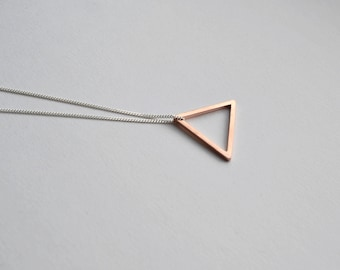 Rose Gold Vermeil Triangle Necklace | Open Triangle Geometric Necklace | Triangle Pendant