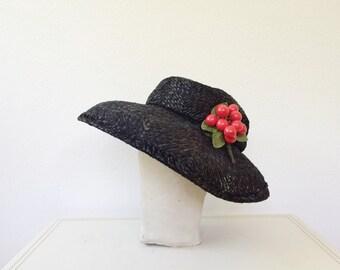 vintage 50s hat / cherry millinery hat / Marisol hat