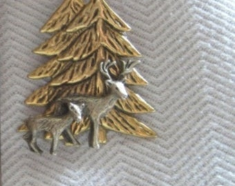 Cerf et biche en bois Pin - argent Antique avec arbre Antique d'or - bicolore - Studio BZ Original