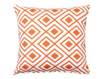"""SALE) 20""""X20"""" Orange & White Modern Lattice Pillow Cover"""