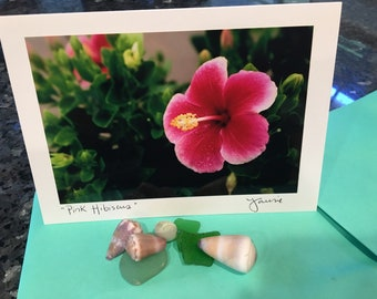 Hawaiian Pink Hibiscus Blank Photo Card with Envelope