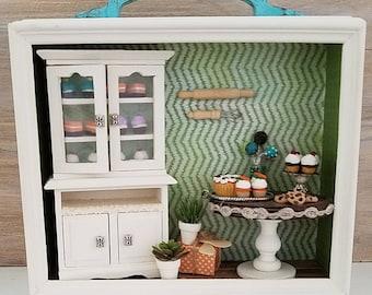 Miniature Bakery Diorama, Miniature Bakery Scene, Handmade, OOAK, Dollhouse Bakery Scene