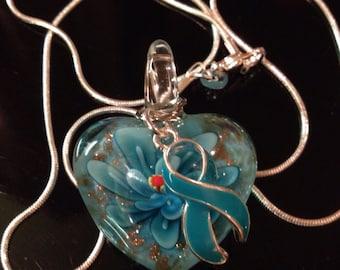 Teal Ribbon Necklace - Glass Heart Charm - Ovarian Cancer Survivor / Awareness Necklace