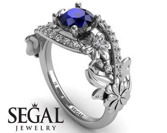 Sapphire Engagement Ring White Gold Blue Sapphire Ring Flower Ring Floral Ring Vintage Ring Blue Sapphire Engagement Ring - Sadie