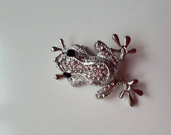Small jewel frog brooch
