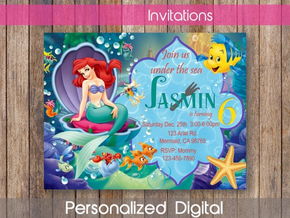 Little Mermaid Invitation Ariel Birthday Party