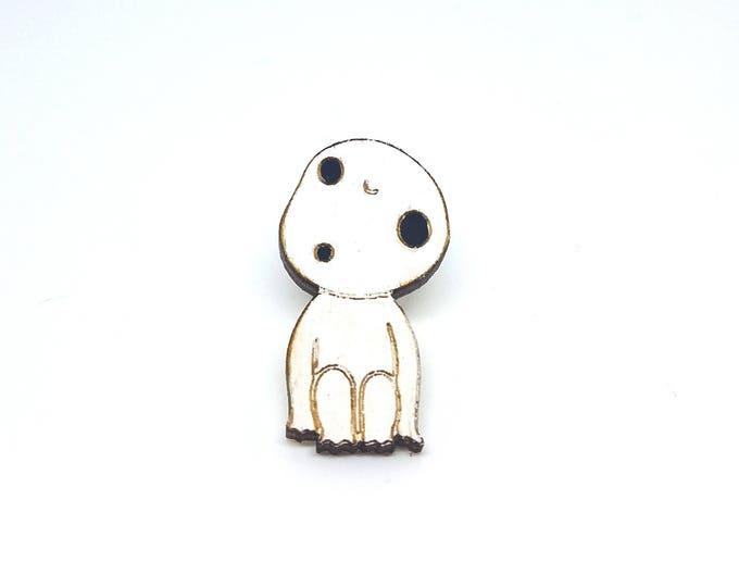 Kodama Wood Pin | Laser Cut Jewelry | Wood Accessories