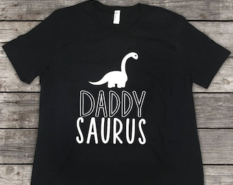 Custom Daddy Saurus Shirt- Dinosaur Shirt - Black & White - Daddy Saurus
