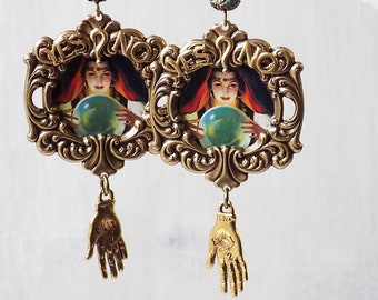 Gypsy earrings, Fortune Teller Earrings, Palmreader, Crystal ball earrings, Pagan jewelry, Pagan earrings, Sideshow, Yes No, Gift Woman