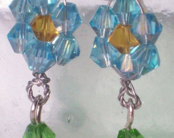 Blue and Yellow Crystal Earrings French Clip Gift for Her