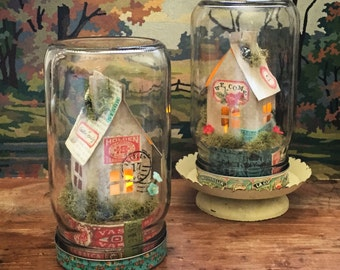 Mason Jar Luminary Paper House Cloche Digital Kit