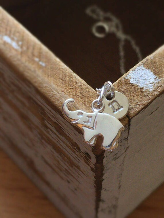Sterling Silver Elephant Necklace   Tiny Personalized Initial Necklace