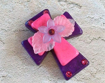 Large Stacked Purple Stone Cross with Pink Stone Cross, Translucent Flower, Leaves, and Bling Craft, Jewelry Supply