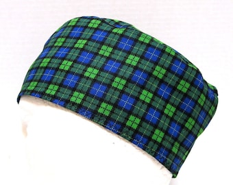 Mens Scrub Hat or Surgical Cap in a Blue and Green Plaid