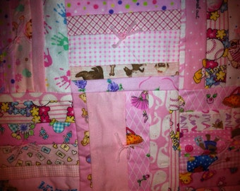 Flannel Baby Quilt in Pink -  Pink Sheep on backside
