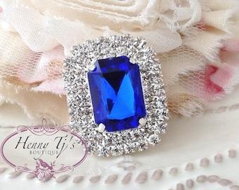 5 pcs - 30mm ROYAL BLUE /  Sapphire Silver Metal Crystal Rhinestone Buttons - wedding / hair / dress / garment accessories Flower Center