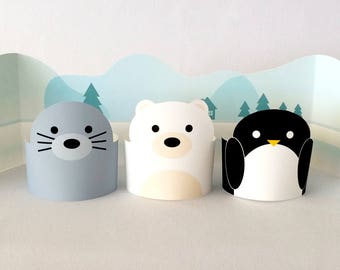 Arctic Animal Printables Playset, Creative Paper Toys for Kids, DIY Printable Kids Toys, DIY Paper Animals Toys: Seal, Polar Bear, Penguin