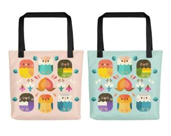 Peachy Lovebird Tote Bag