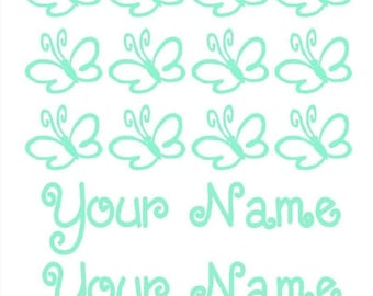 Butterfly and Name Decal/Sticker Set for Bikes