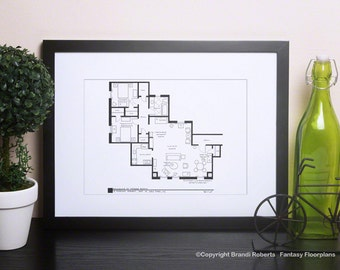 Friends TV Show - Phoebe Buffay - Apartment Floor Plan - Black and white Poster Art - Great gift!