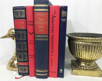 Navy Blue and Red Decorative Book Set