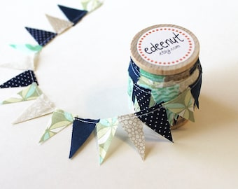 Beach wedding, Custom bunting, Beachy Sea glass Mix. mini Cake Bunting. Spool Bunting, gift wrap ribbon. Invitations, save the date DIY