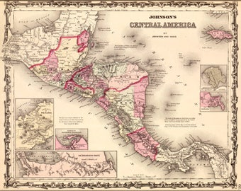 Poster, Many Sizes Available; Map Of Central America Honduras Costa Rica 1862