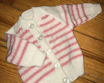 Pink and White Stripe Cardigan