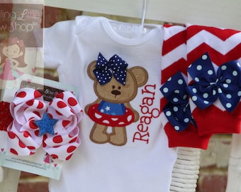 Baby Girl 4th of July Outfit -Summertime Sweetie -red, white, blue- personalized bodysuit, leg warmers, bow with headband