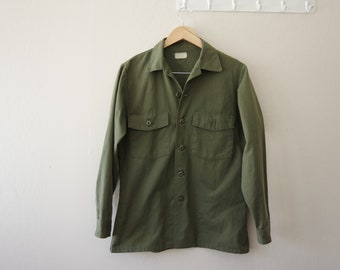 1970s US Military Utility Shirt Selma Apparel Size 15 1/2 x 33 | Durable Press, OG-507