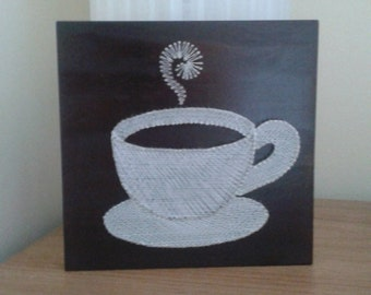 Cup of coffee.String Art.Home decor. Natural Home. Rustic decor.Wooden Wall art.