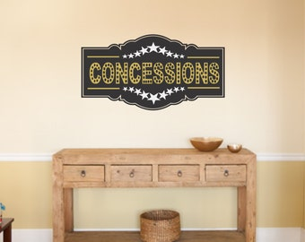 Home Theater Concessions Wall Decal, Popcorn Wall Decal, Snack Bar Wall Decal - WD0225