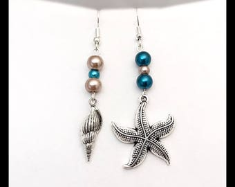"""Underwater"" mismatched earrings"