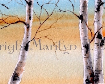 WATERCOLOR SCENE - ORIGINAL; skyline, birch grove, dawn, wall art, original art, miniature art, 2.5 X 8.5 inches