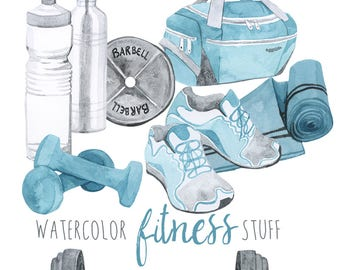 Watercolor Fitness Stuff, gym equipment clipart, Gym Bag, Barbells and Weights clip art, Tennis Shoes, Health and Wellness Clip Art