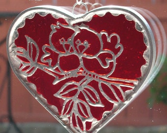Red Heart with Lovebirds Overlay, Suncartcher in Stained Glass
