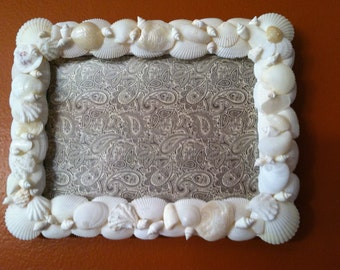 Coastal White Seashell Picture Frame